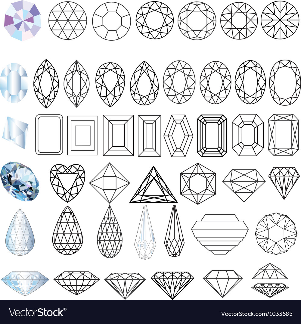 Cut gem stones vector