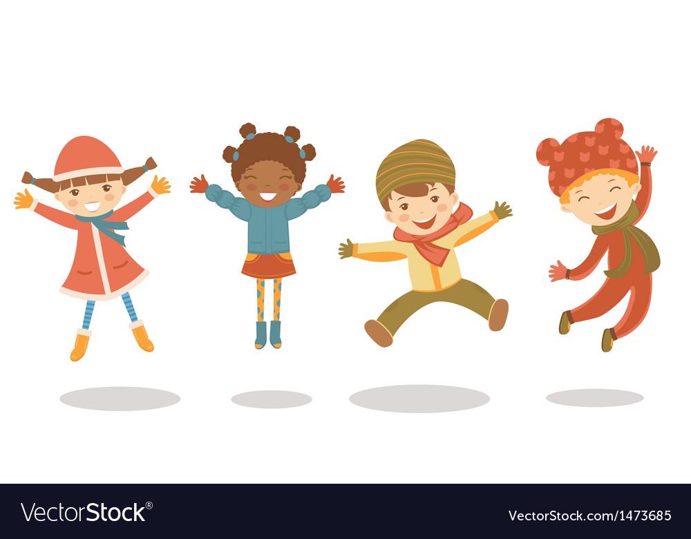Jumping winter kids vector