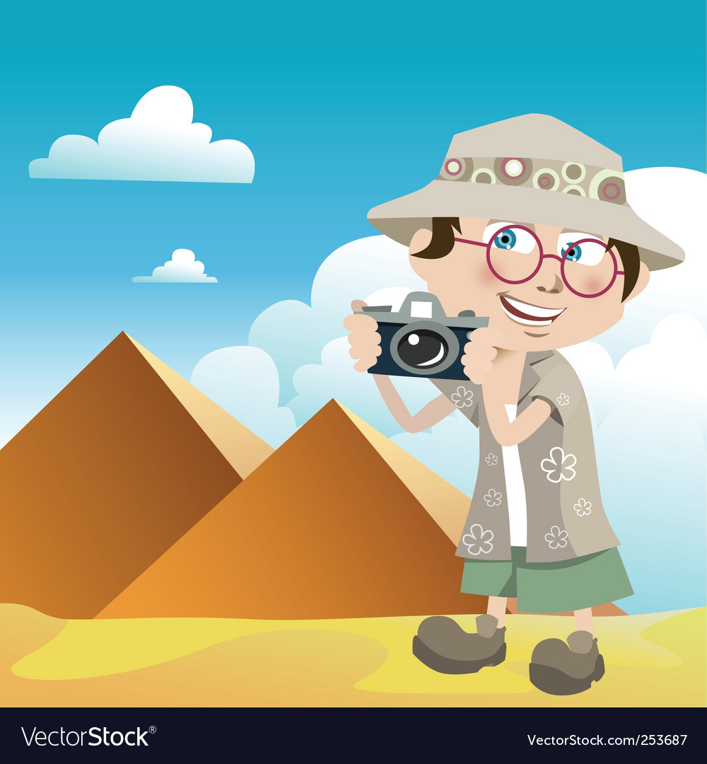 Tourist guy vector