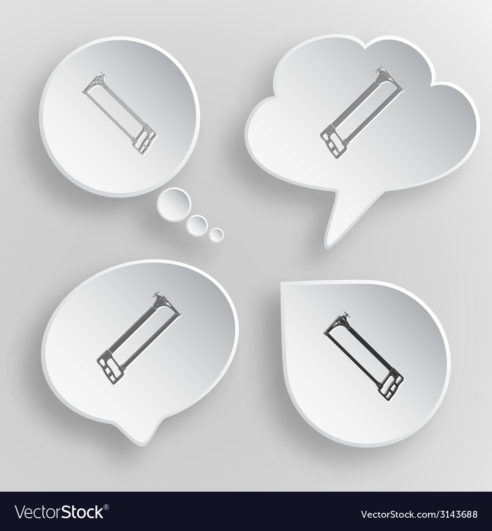 Hacksaw white flat buttons on gray background vector