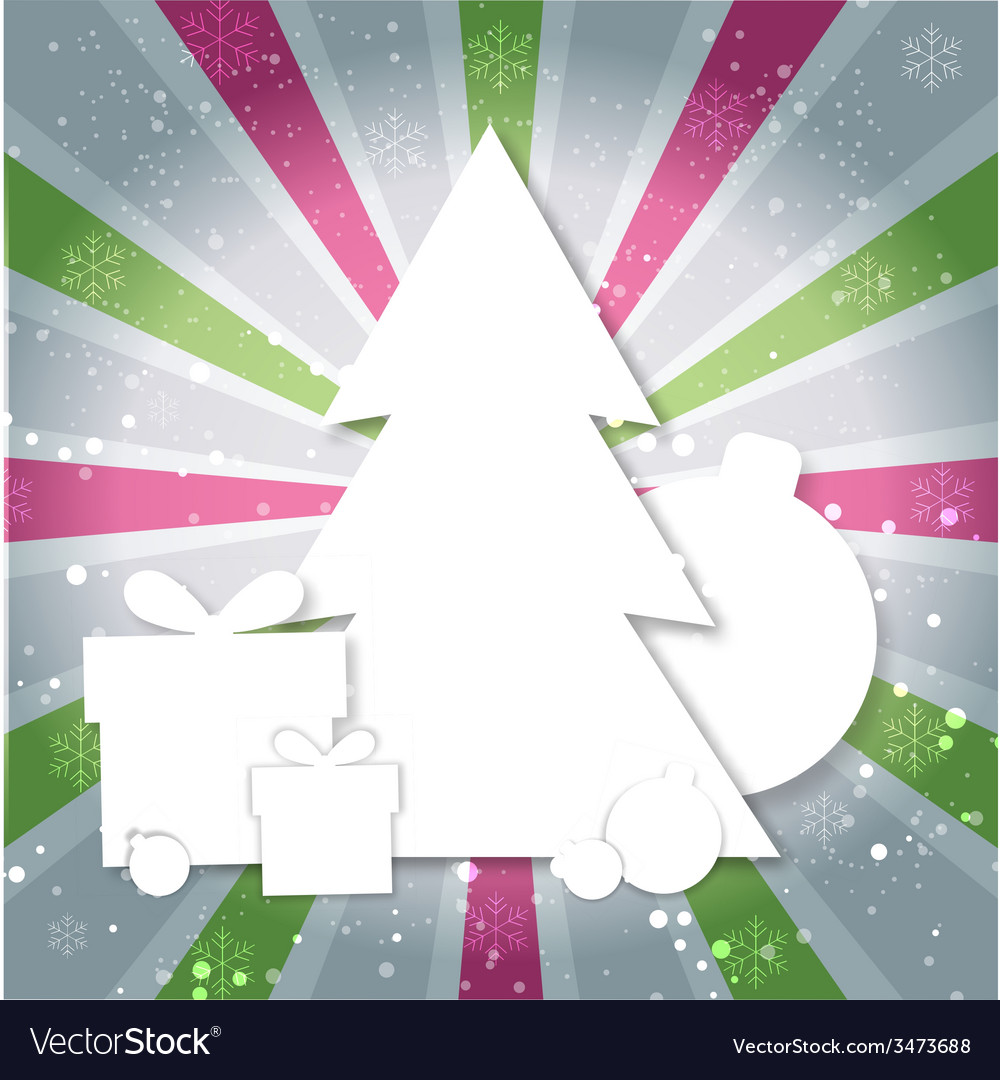 Merry christmas paper tree design greeting card vector