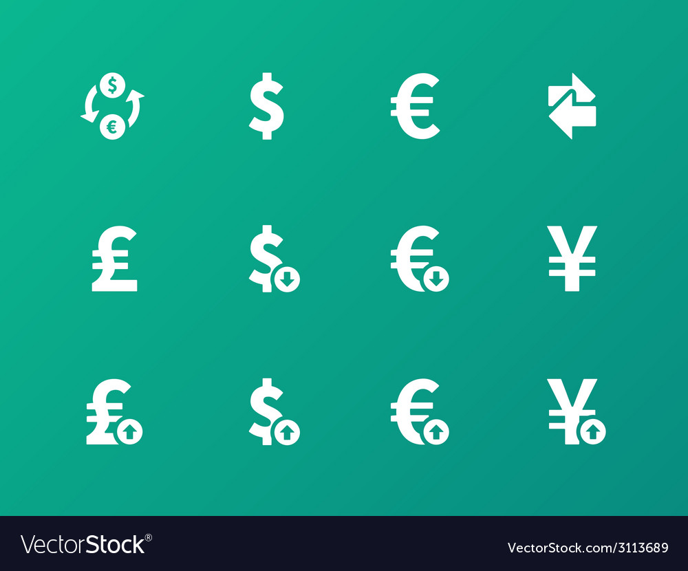 Exchange rate icons on green background vector