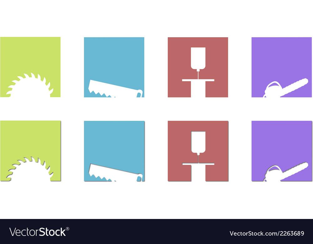 Sawing mill logos and symbols vector