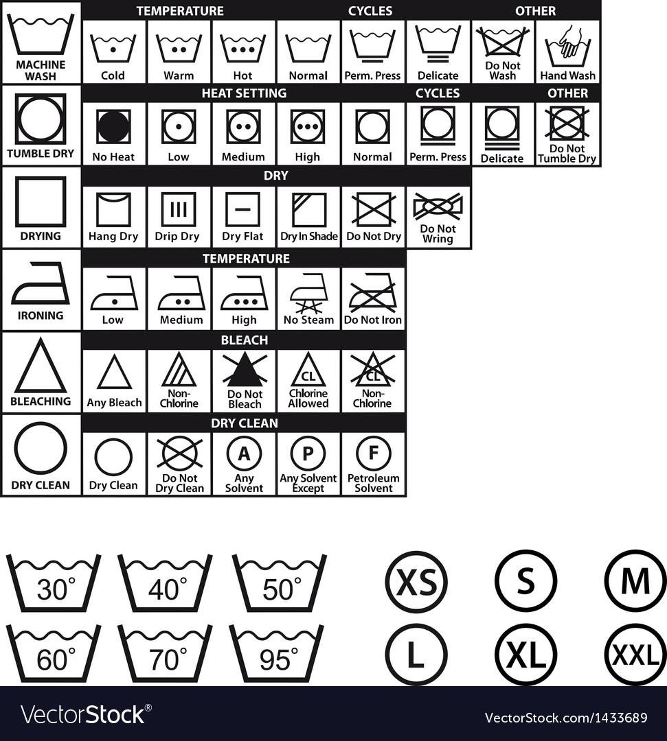 Textile care symbols set vector