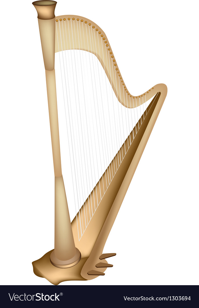 A beautiful golden harp on white background vector