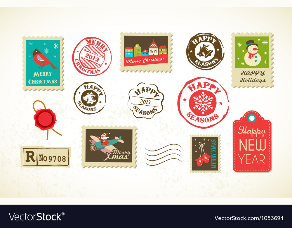 Christmas set of vintage postage stamps vector
