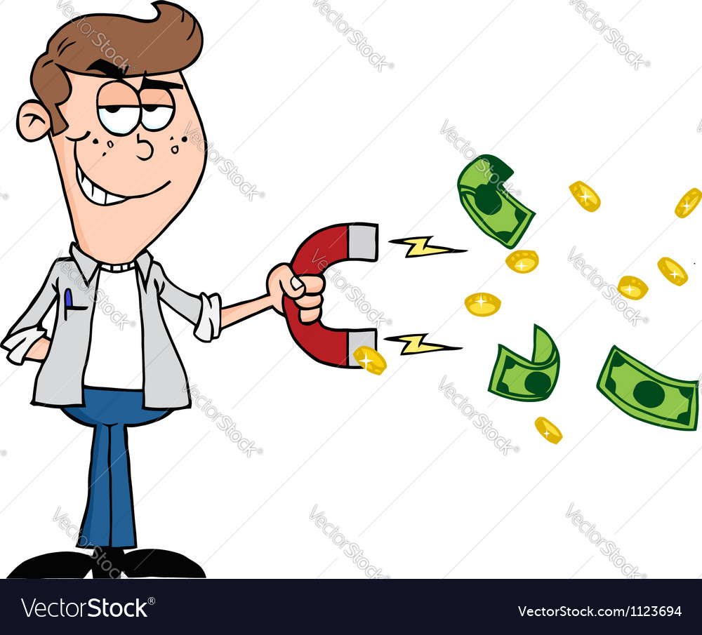 Happy youth using a magnet to attracts money vector