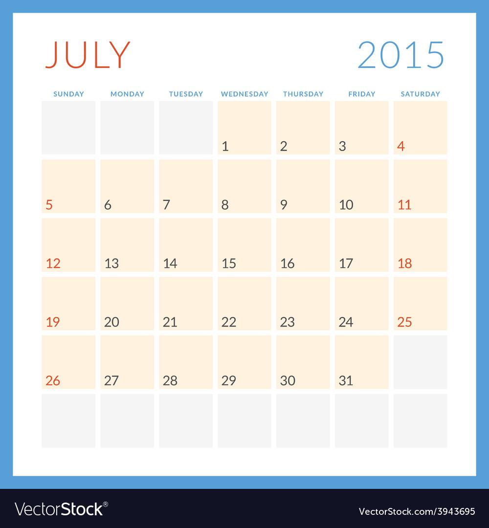 Calendar 2015 flat design template july week vector