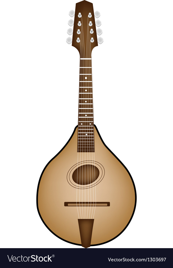 A beautiful antique mandolin on white background vector