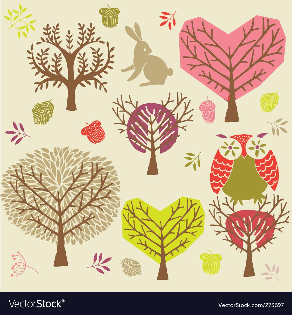 Autumn forest background vector