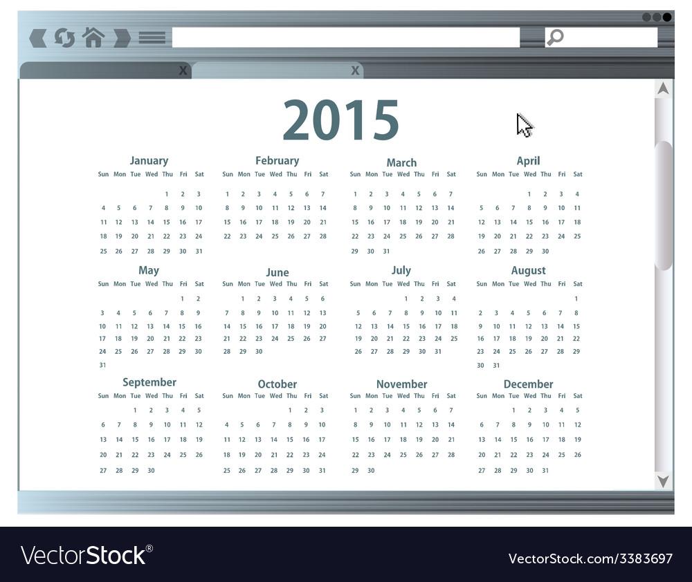 Internet browser with 2015 calendar vector