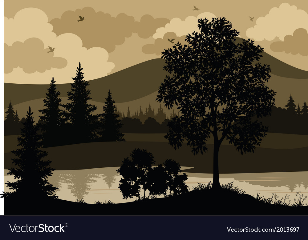 Landscape trees river and birds silhouette vector