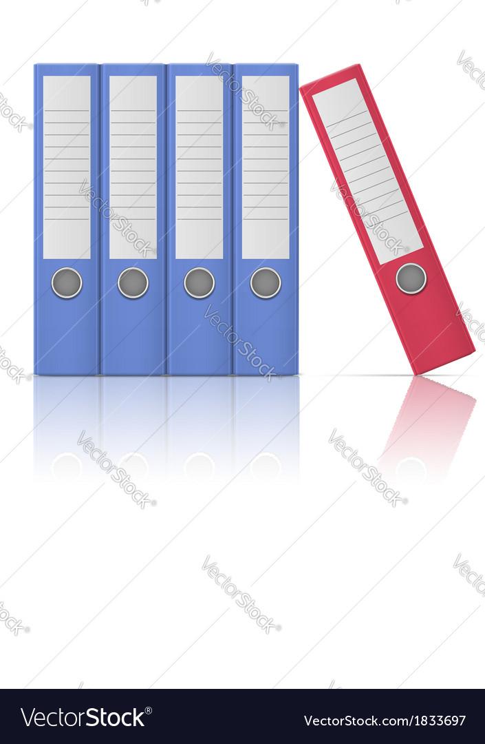 Office binders - five in row vector