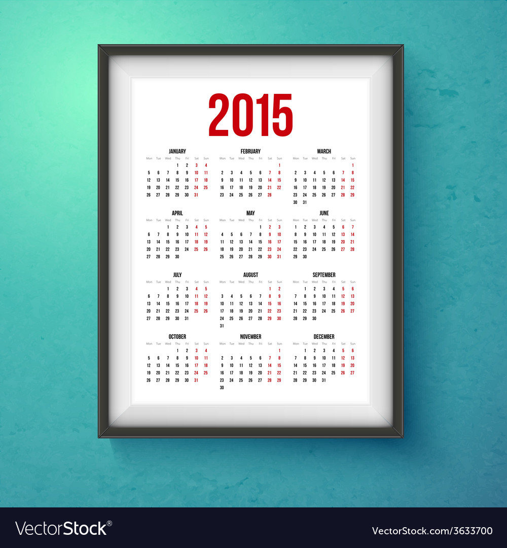 2015 year calender realistic photo frame on the vector