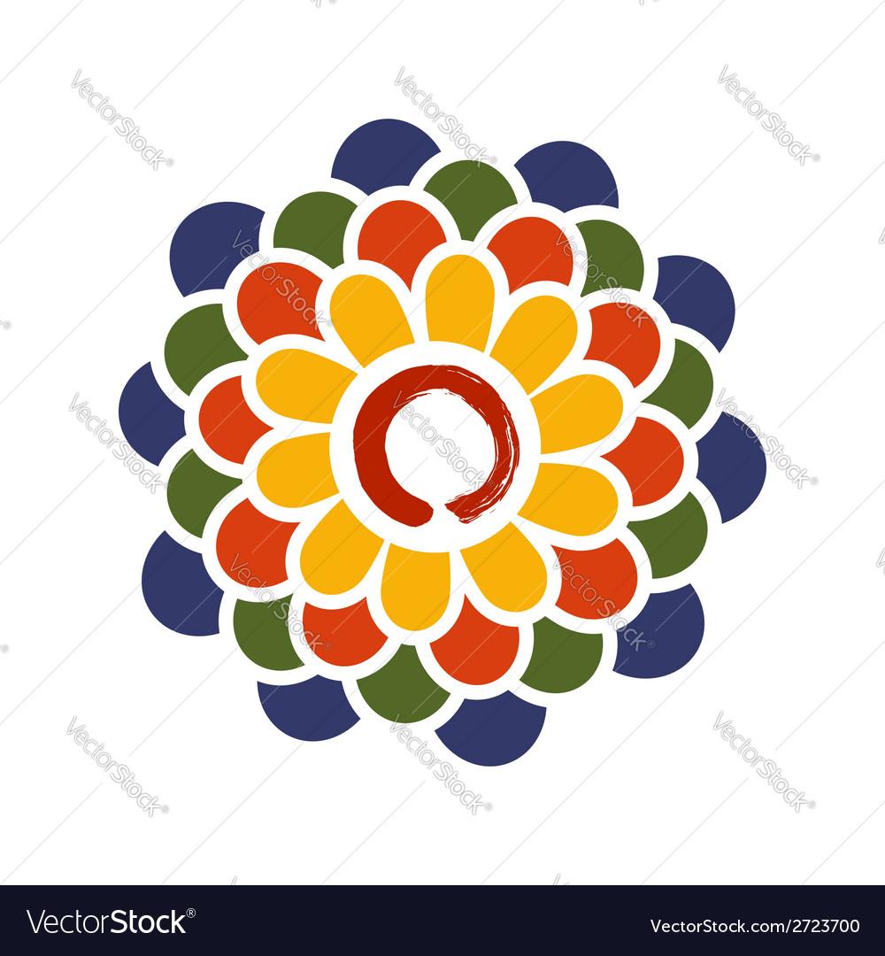 Colorful lotus and zen circle vector