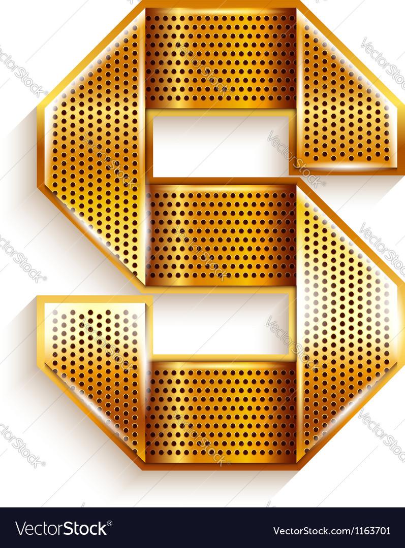 Letter metal gold ribbon - s vector