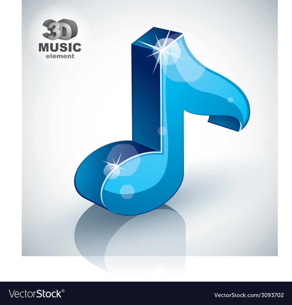 Blue musical note icon isolated 3d music design vector