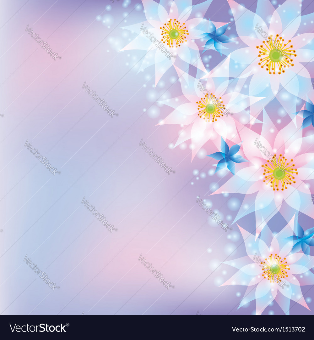 Greeting card abstract background with flowers vector