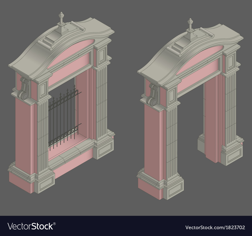 Isometric gate portal vector