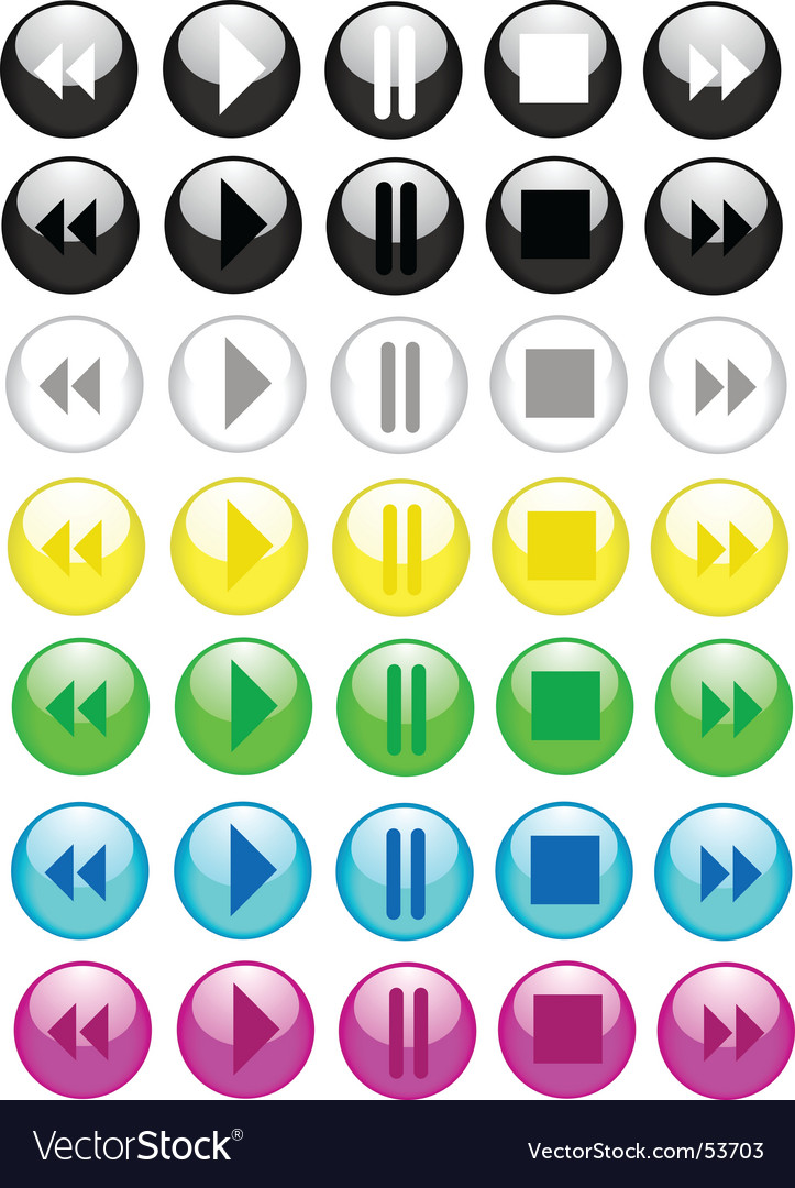 Music buttons icons vector