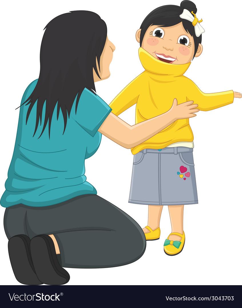 Of mum helping daughter wearin vector