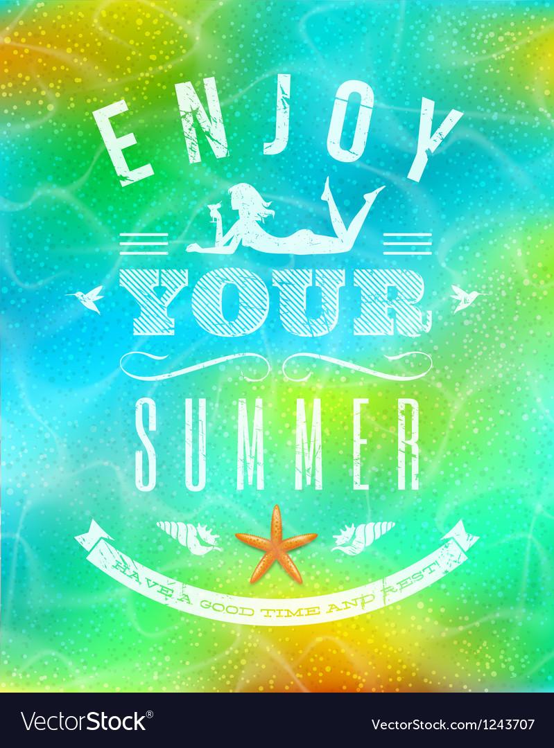 Summer holidays lettering emblem vector