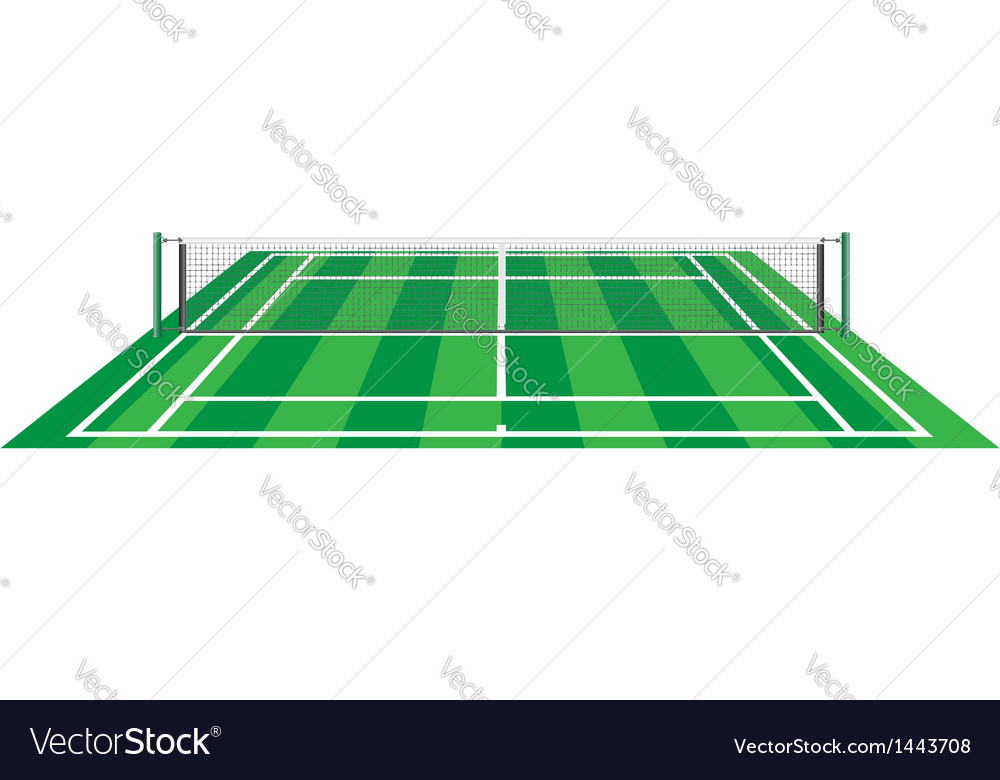 Tennis court with net vector