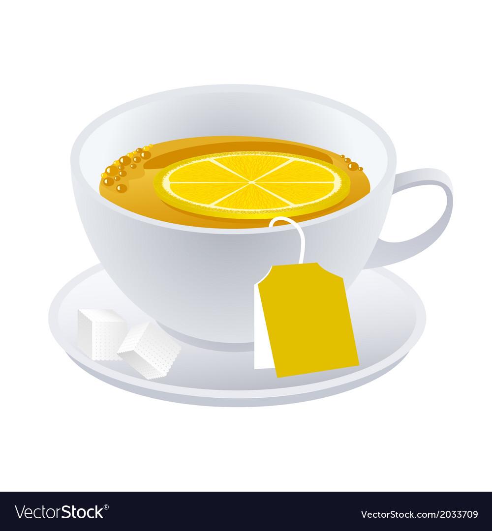 Cup of black tea with lemon vector