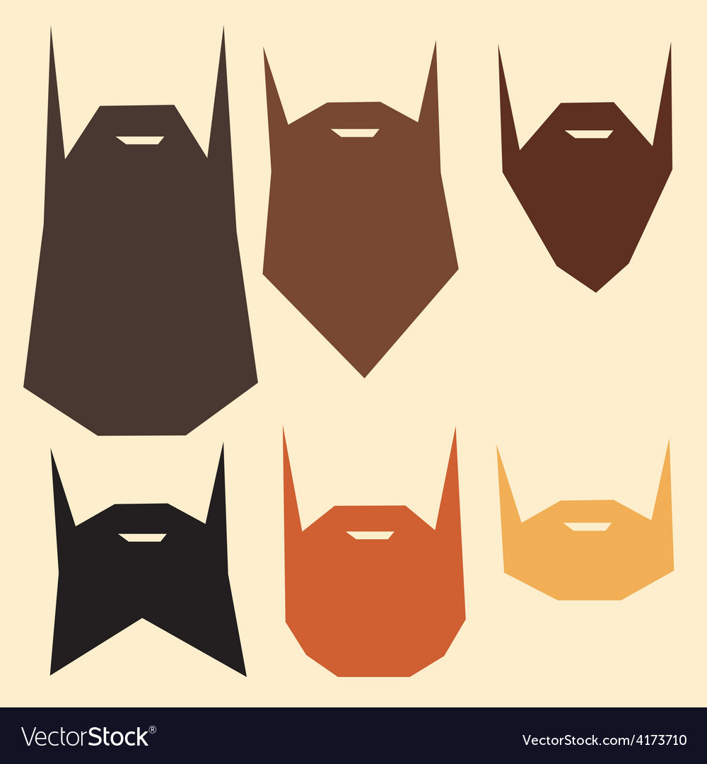 Set of beard silhouettes vector