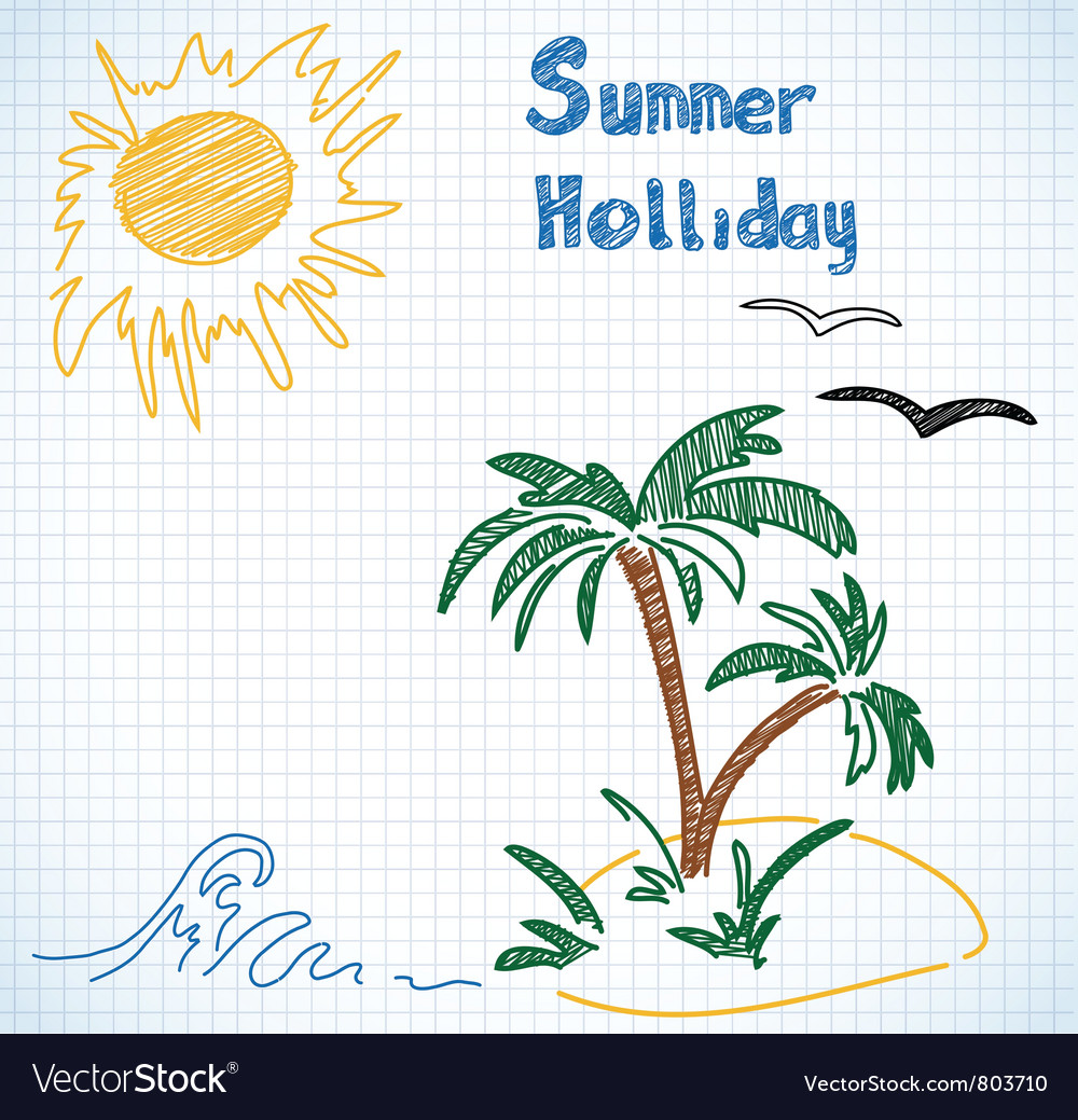 Summer holliday doodles vector
