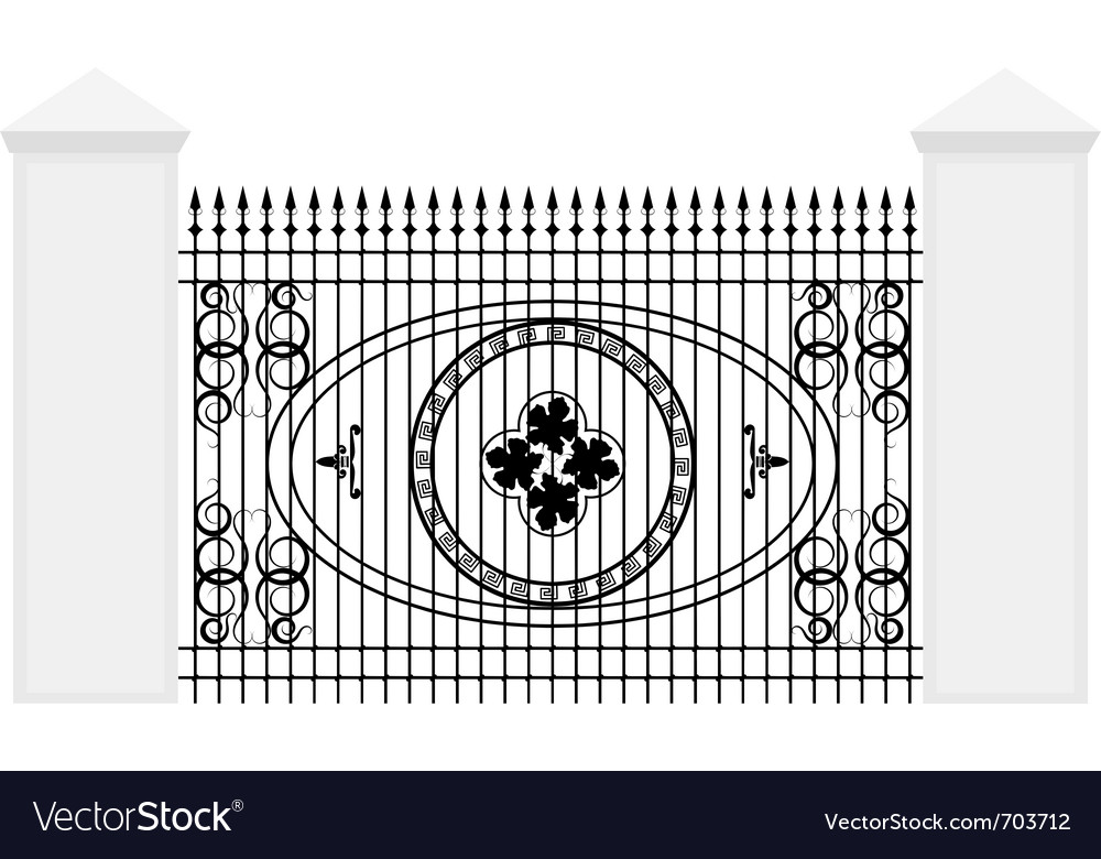 Fence with iron railing vector