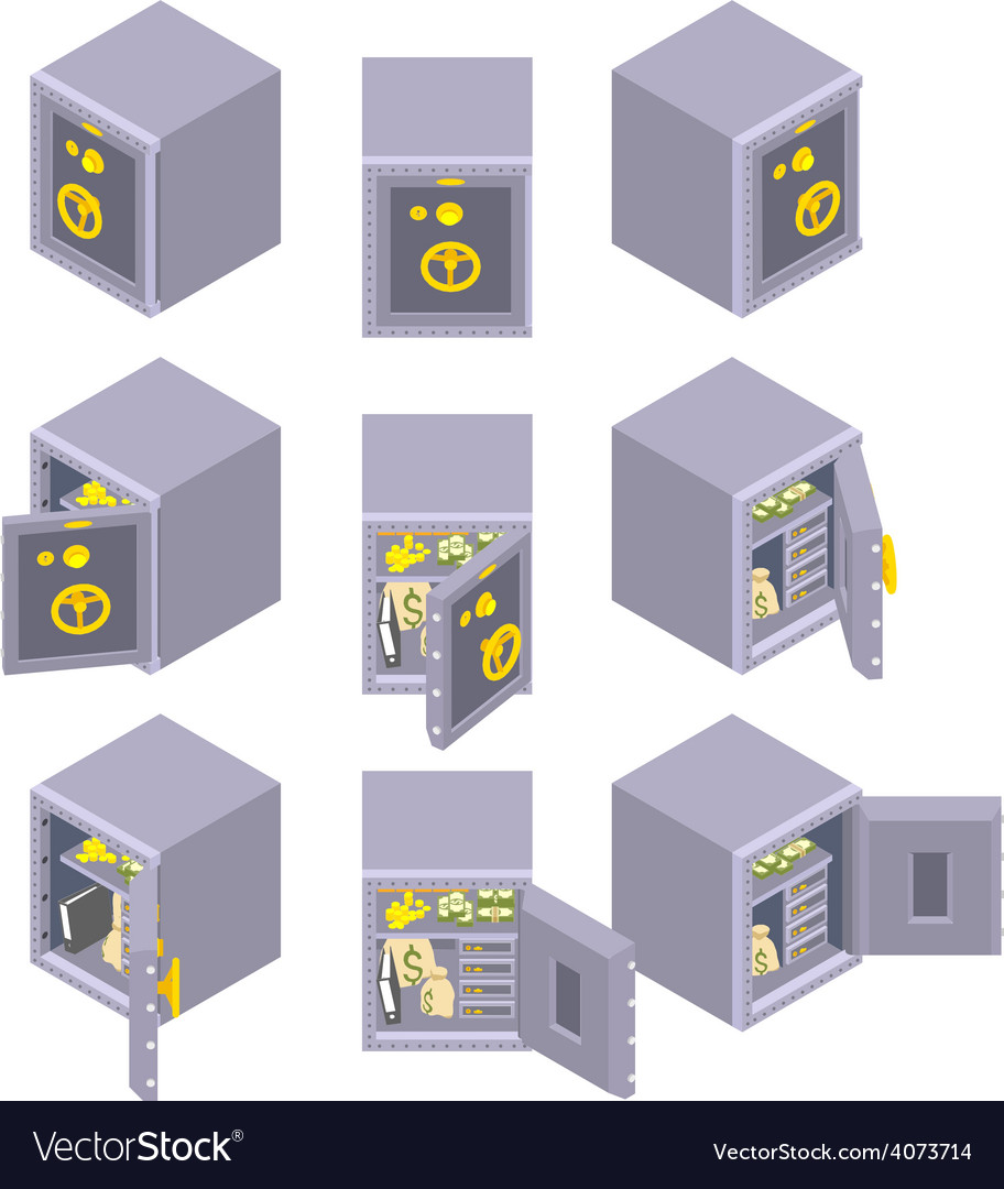 Isometric metal safe storage vector