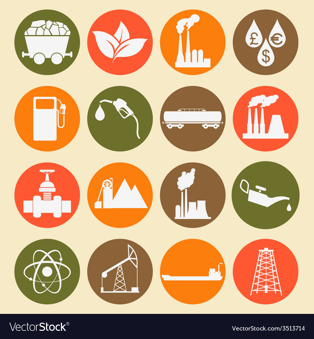 Set 16 fuel and energy icons vector