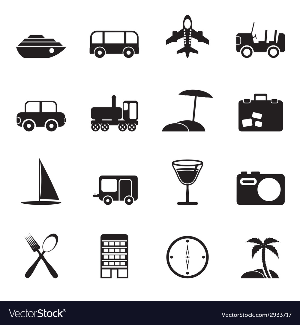 Silhouette transportation and holiday vector
