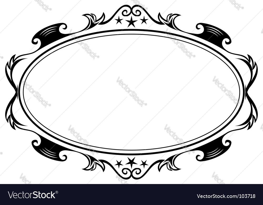 Antique oval frame vector