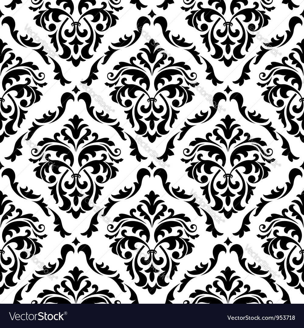 Medieval floral seamless in damask style vector