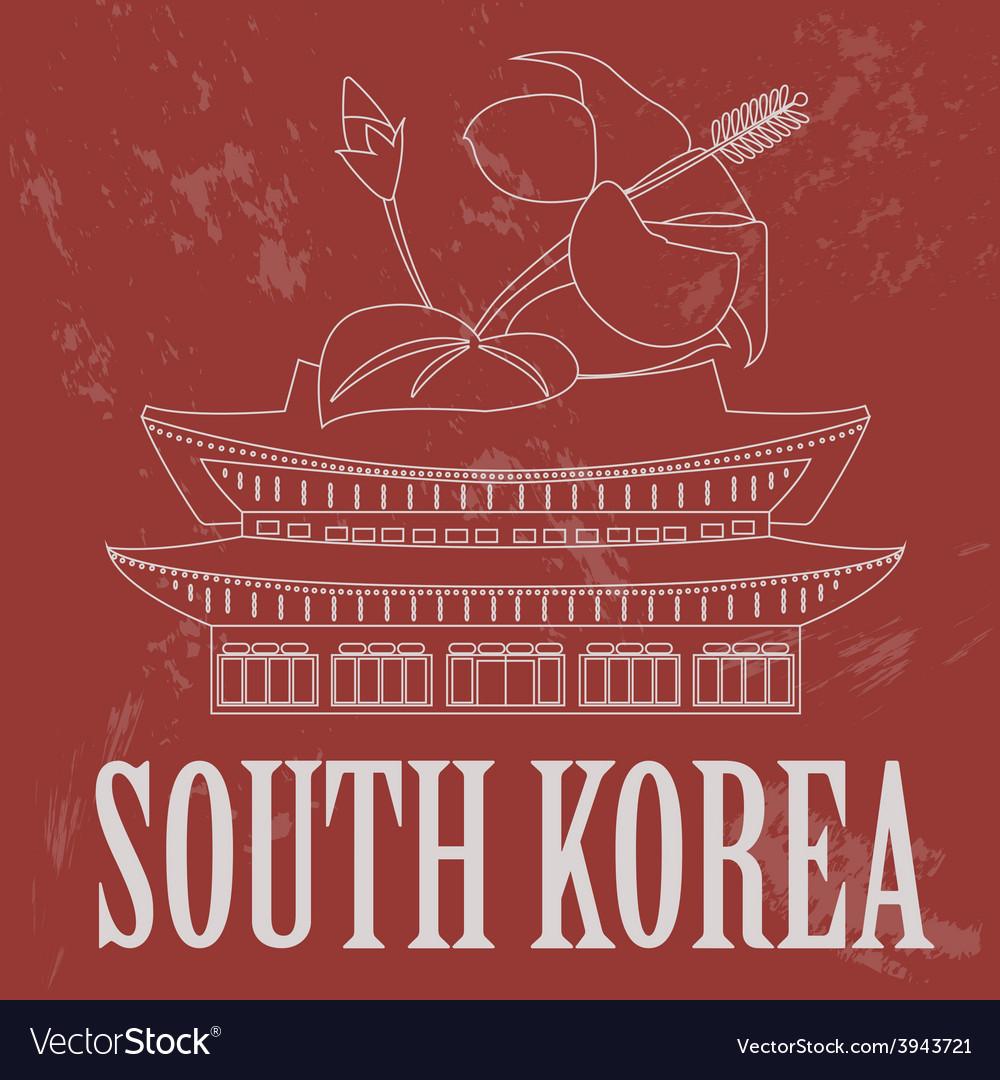 South korea landmarks retro styled image vector