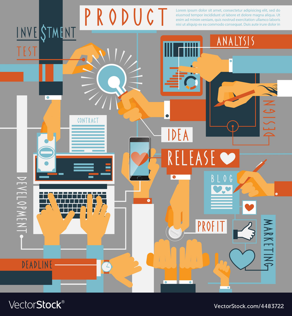 Hand icons production process concept vector