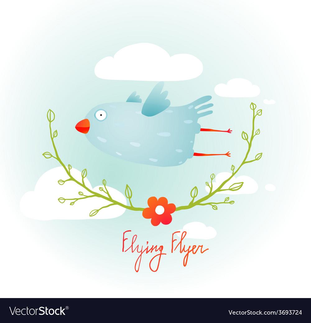Flying bird with floral wreath cartoon vector