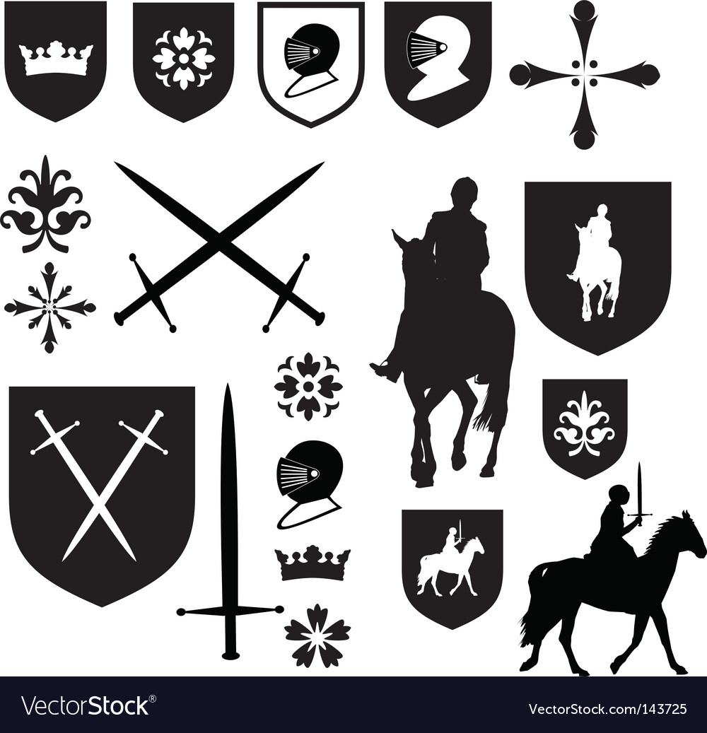 Old style elizabethan icons vector