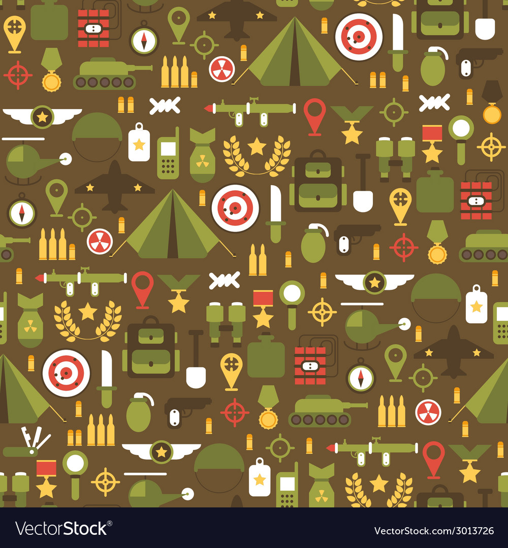Seamless pattern of flat colorful military and war vector