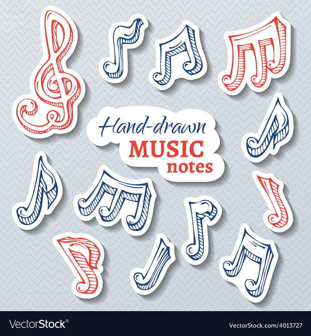 Set of paper music stickers vector