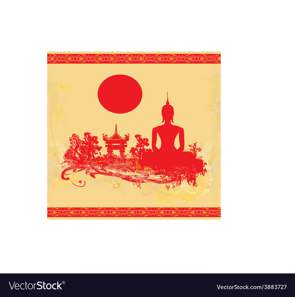 Silhouette of a buddhaasian landscape in grunge vector