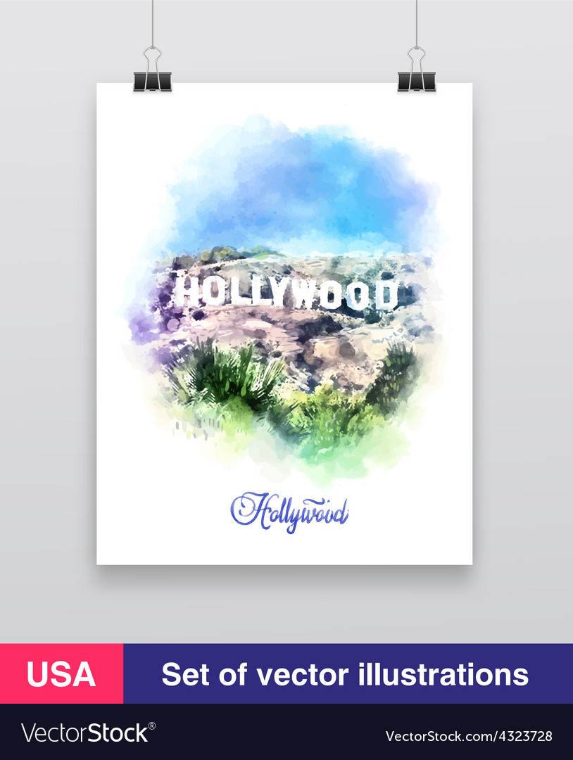 Watercolor  hollywood sign vector