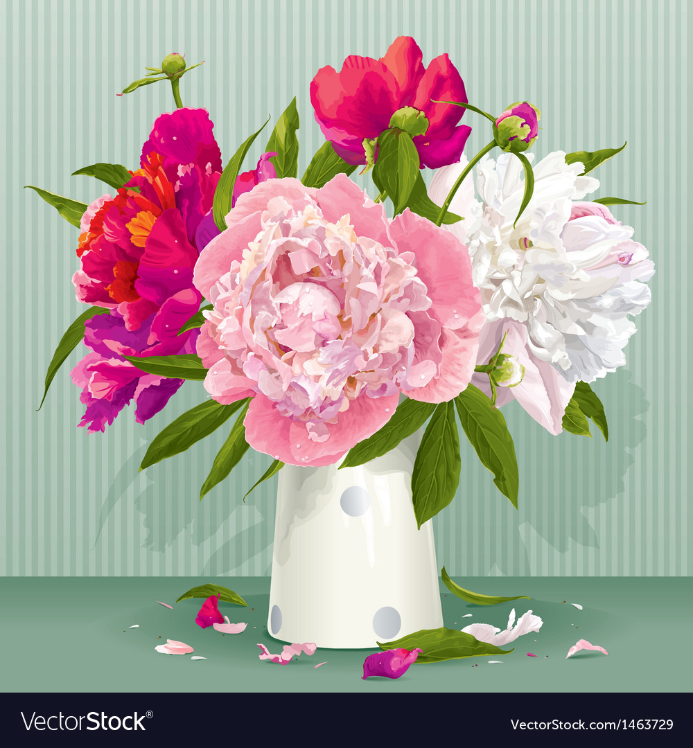 Red peony bouquet vector