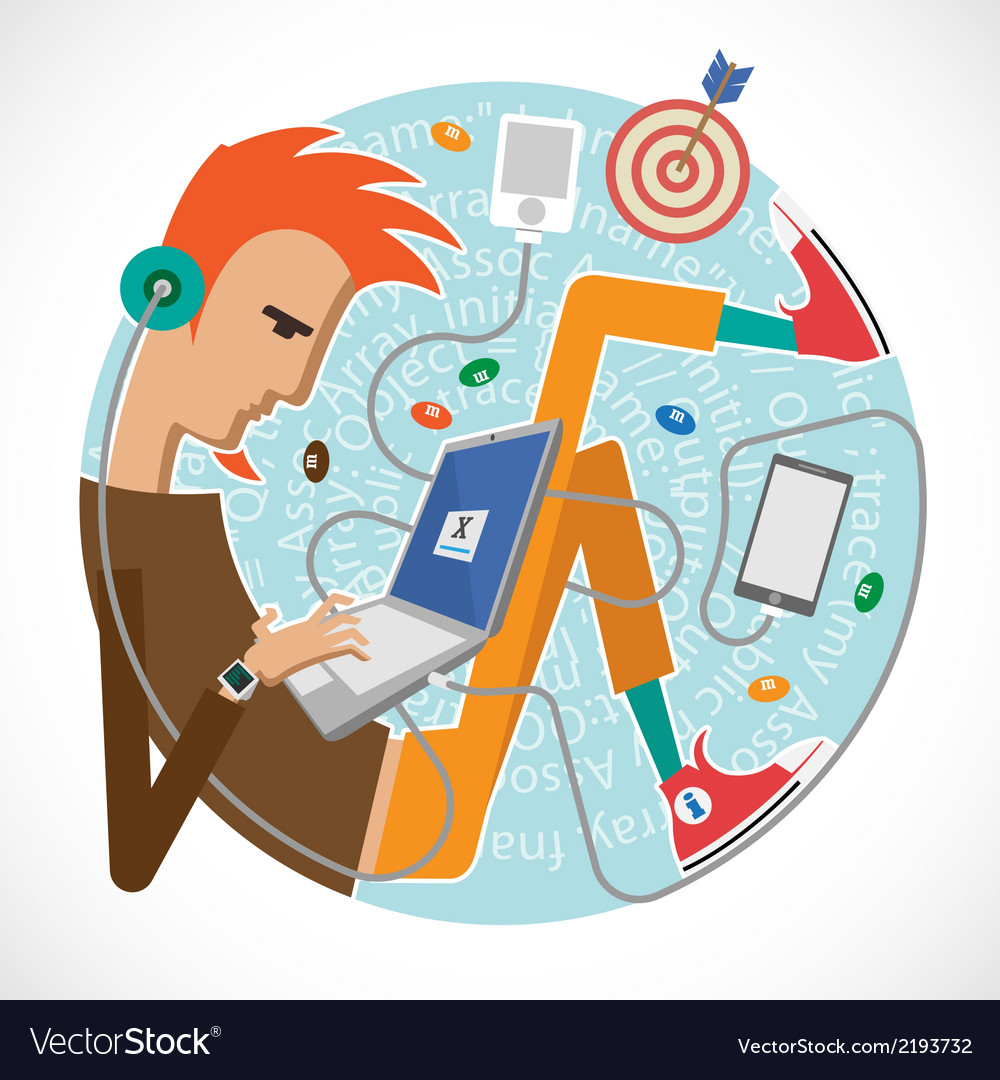 Young man working on laptop vector