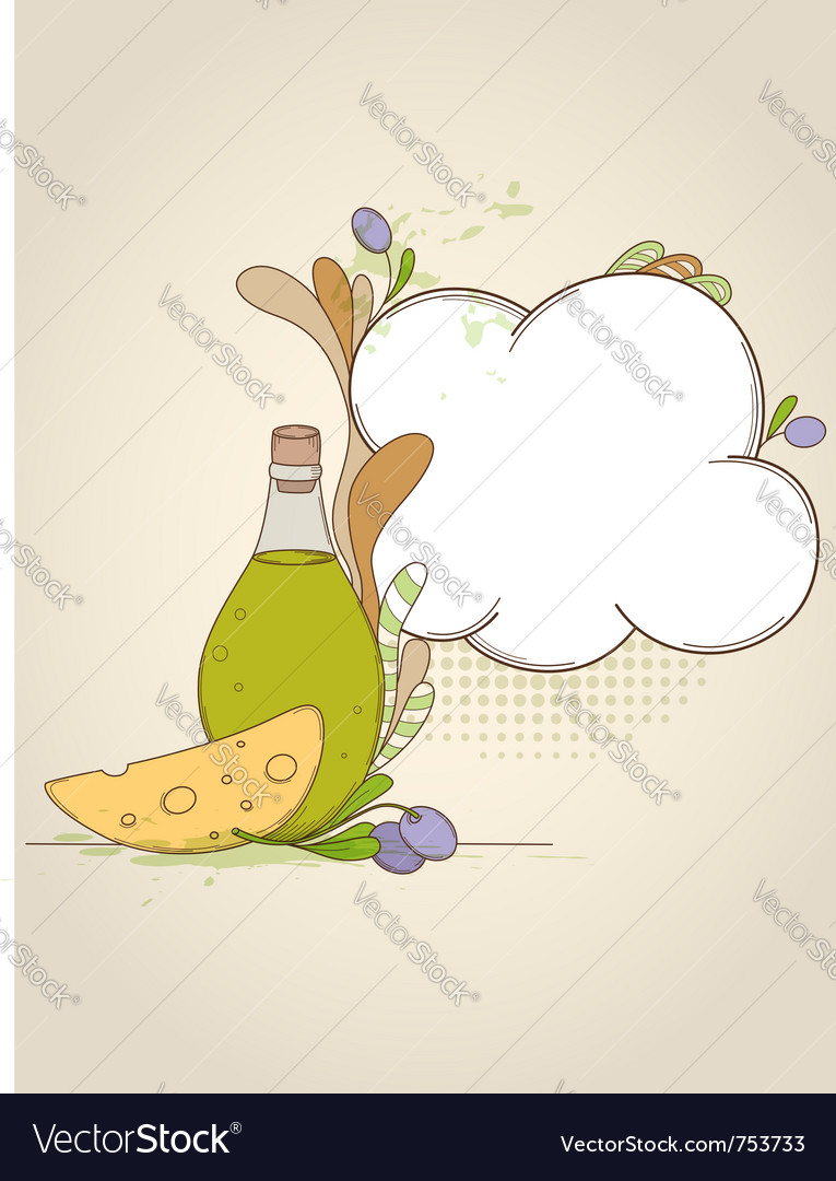 Bottle of olive oil and piece of cheese vector