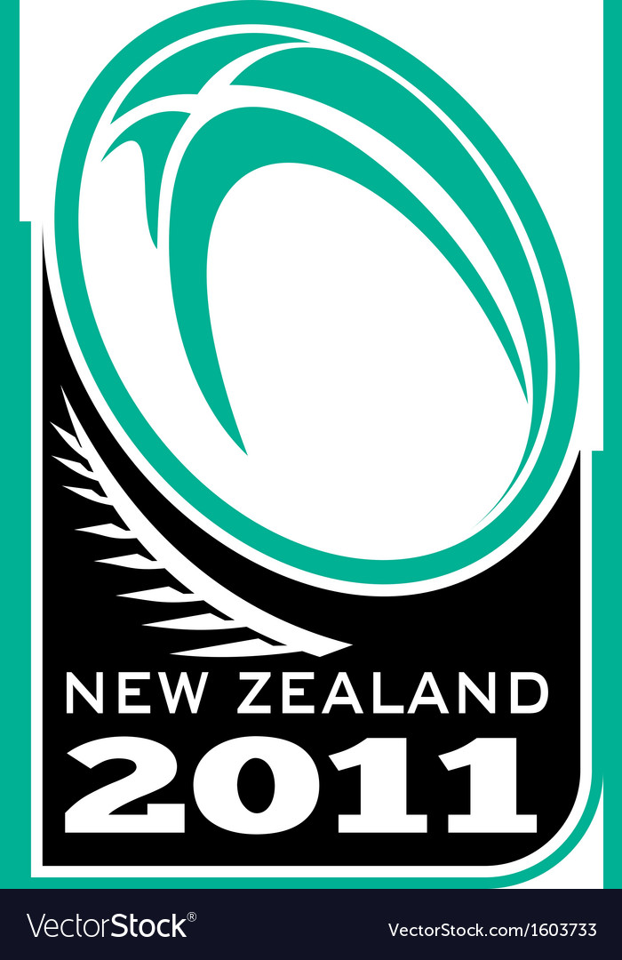 Rugby ball fern new zealand 2011 vector