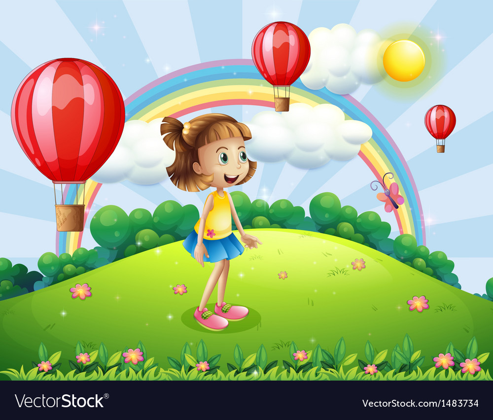 A happy girl watching the air balloons vector