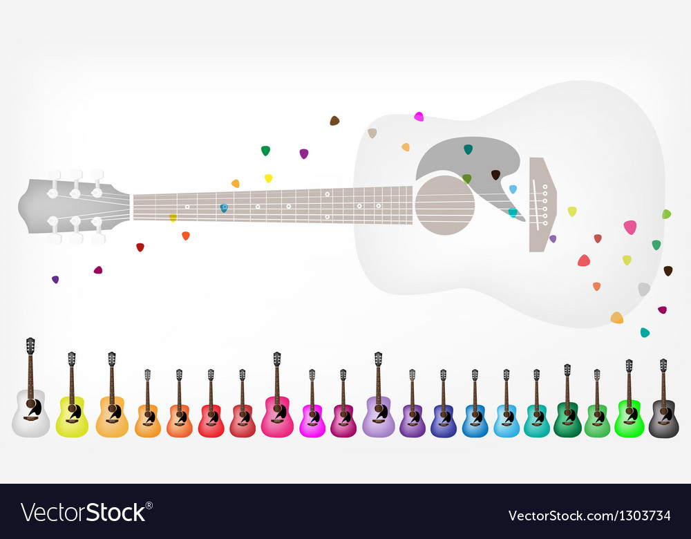 A set of colorful acoustic guitars background vector